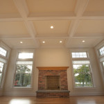 Coffered ceilings and lots of glass.