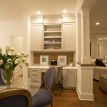 Built-ins provide a workspace in the eat-in kitchen